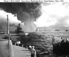 View down Battleship Row, Pearl Harbor, 7 December 1941 - photo from the Naval Historical Center archives